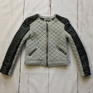 Boys Quilted Faux Leather Cropped Bike Jacket